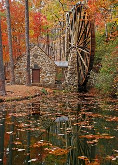 """Berry College Water Wheel"" by R. Clegg Photography: This is an autumn photo of the Berry College Water Wheel that is located at Mount Berry, Georgia. Beautiful World, Beautiful Places, Beautiful Pictures, Berry College, Autumn Scenes, Fall Pictures, Fall Photos, Old Barns, Belle Photo"
