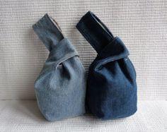 Denim japanische Knoten Armband Kupplung Mini Tasche Etui Case