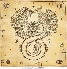 Old Symbols, Alchemy Symbols, Ancient Symbols, Phoenix Back Tattoo, Ouroboros Tattoo, Anubis Tattoo, Dark Artwork, Lion Design, Moon Illustration
