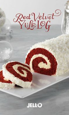 Delightful presentation meets the always-popular red velvet yumminess in this fun holiday centerpiece. Red Velvet Yule Log is a showstopper. Get started with JELL-O Cheesecake Flavor Instant Pudding, COOL WHIP Whipped Topping, BAKER'S ANGEL FLAKE Coconut, Köstliche Desserts, Holiday Desserts, Holiday Baking, Holiday Treats, Dessert Recipes, Kraft Recipes, Thanksgiving Desserts, Cake Roll Recipes, Holiday Cakes