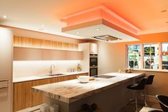 Change the intensity of the colours, with these LED lights over the kitchen island. BLOG: http://www.jshouseofdesign.co.uk/Blog/Post/1615/How-to-refurbish-your-kitchen #KitchenRefurbishment #KitchenRefurb #KitchenRenovation #NewKitchen #KitchenLighting