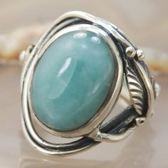 Larimar and sterling silver handmade ring Sz 7 - $68