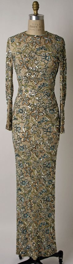 Dress, Evening  Norman Norell  (American, Noblesville, Indiana 1900–1972 New York City)  Date: 1950–65 Culture: American Medium: silk, plastic, rhinestones