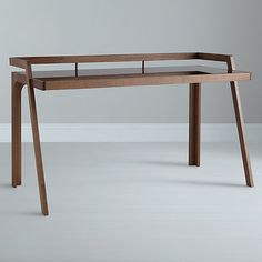 John Lewis, Gazelle Desk, Walnut, simple framework refined to use very little material to create structure. Helps give the illusion of space. Wooden Desk, Wooden Furniture, Furniture Projects, Cool Furniture, Furniture Design, Walnut Furniture, Office Furniture, Furniture Inspiration, Wood Design