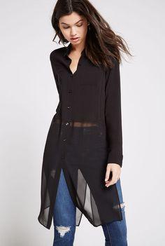 Long Sleeve Side Slit Collared Shirt BCBGeneration #woamnfashion #bcbg #shirt #black #ad