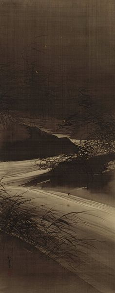 Fireflies over the Uji River by Moonlight, Meiji period (1868–1912) Suzuki Shonen (Japanese, 1849–1918) Hanging scroll; ink, gold, and color on silk