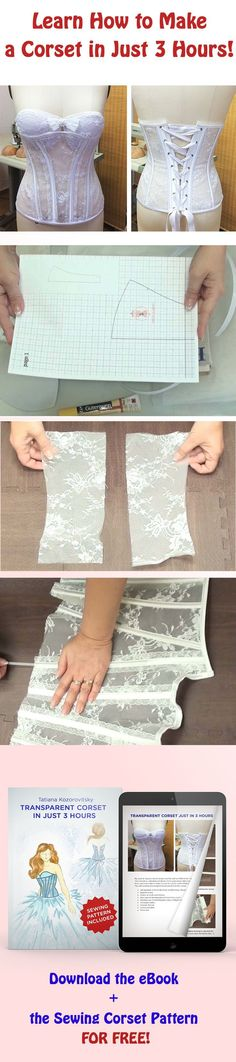 Learn how to make a corset in 3 hours + free corset sewing pattern download                                                                                                                                                                                 Más - lingerie wear, lingerie secrete, pretty lingerie *sponsored