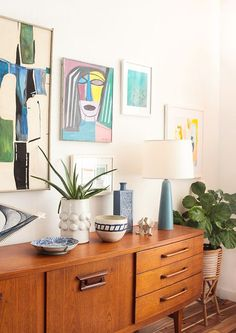 Credenza_4 Ways_Gallery Wall Pottery Succulents Woven Art_Mid Century Modern Eclectic 1: Emily Henderson
