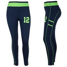 Seattle Seahawks 12th Man Fan Navy Leggings with Lime Line #ZONE12 #SeattleSeahawks