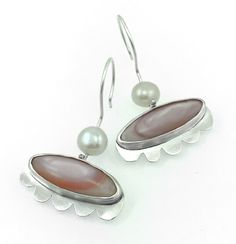 BAGNO BARSANTI, sterling silver earrings with pink shell and natural pearls by #POLAOSLO Design at www.polaoslodesign.com