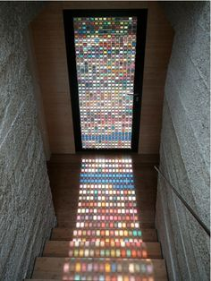 This looks so pretty!  Wouldn't work in our hall, unfortunately.  Pantone Door   http://designtaxi.com/news/352624/A-Stained-Glass-Door-Made-Of-PANTONE-Swatches/