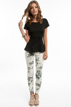 flower jeans with peplum
