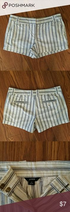 """Ladies shorts Jcrew city fit, blue and white stripe shorts, 3"""" inseam, 34""""waist, 5,5"""" rise. 2 Slash pockets, and 2 back pockets. Zip and slide tab closure. 100% cotton. J. Crew Shorts"""