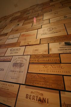 Wine crate wall (but good luck finding wine crates). Create your own with stencils!