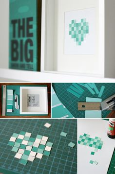 DIY, paint chip, aqua, crafting, pixel, heart, frame, decoration