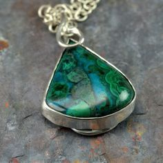 Chrysocolla Necklace  Intense Blue and Green Stone by PPennee, $245.00