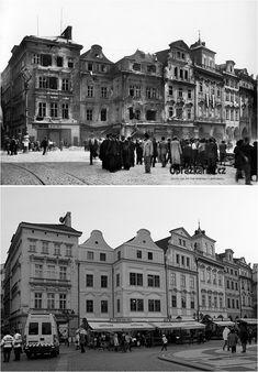Staroměstské náměstí, květen 1945 Prague Photography, Prague Travel, Colourful Buildings, Fairytale Castle, World Cities, History Photos, Street Artists, More Pictures, Czech Republic