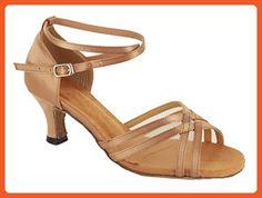 TDA Women's Comfort Sexy Fashion Brown Satin Salsa Tango Ballroom Latin Modern Dance Wedding Shoes 8 M US - Athletic shoes for women (*Amazon Partner-Link)