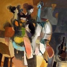 "Saatchi Art Artist Qais Al-Sindy; Painting, ""Melody of Cellos"" #art"