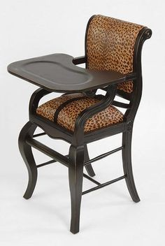 Distressed Black with Brown Leopard : Baby High Chairs - Premium Quality - Available Online, Premium Quality, Elegant Custom Baby High Chairs Big Comfy Chair, Brown Leopard, Cool Chairs, My Baby Girl, Baby Fever, Beautiful Babies, Future Baby, Baby Kids, Baby Baby