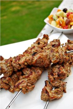 Greek Lamb Kebabs  (I use the marinade here to sautee ground lamb for a Greek-style empanada filling)