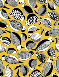 yellow black and white bird pattern fabric