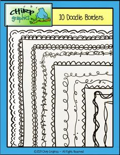 FREE Doodle Borders - Save ink with these great black line borders from Chirp Graphics! - 10 unique borders, 19 images in all! All borders come with a transparent background, 9 also come with white fill. Cute Borders, Doodle Borders, Borders And Frames, Classroom Organization, Classroom Decor, Organizing, Free Doodles, Stencil, Classroom Freebies