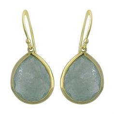 New Ippolita 18K Gold Aquamarine Rock Candy Teardrop Earrings