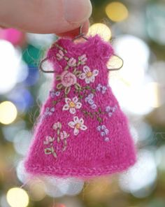 Magenta Garden, a hand knit and embroidered mohair dress/hat set for Wilde Imagination's Amelia Thimble and Izzy dolls, Cindy Rice Designs.
