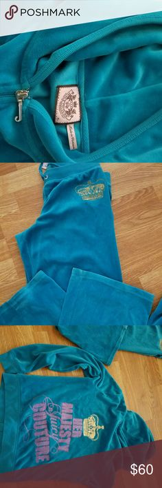 Juicy Couture Velour outfit Beautiful Velour blue/green in color.  Medium pant and hoodie zipper jacket is size XL but both pant and jacket fit like a Small/medium Juicy Couture Other