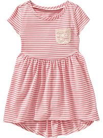 Striped Jersey Dresses for Baby Product Image Cute Outfits For Kids, Toddler Girl Outfits, Toddler Fashion, Kids Fashion, Little Baby Girl, Little Girl Dresses, Baby Baby, Girls Dresses Online, Frocks For Girls
