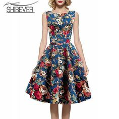 Hot Sale 2017 New Fashion Summer Dresses Sleeveless Printing Casual Dress Classic O-neck Women Dresses LD07