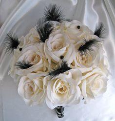 Wedding bouquet Bridal silk flowers decoration IVORY / BLACK FEATHER 24 pc | eBay