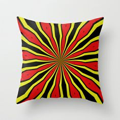 Strange sun Throw Pillow by Bubblemaker - $20.00 Starting a series with designs in yellow, red and black.  the first one reminds on sunrays, maybe from another sun somewhere in the  universe.  Based on a digital painting of my own