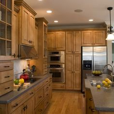 Kitchen maple cabinets blue gray walls new house for Why are cabinets so expensive