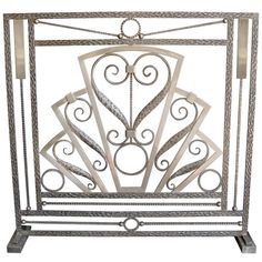 Fine French Art Deco two tone hammered iron firescreen -Subes
