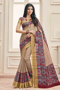 Cream And Grey Art Silk Saree With Art Silk Blouse - DMV11585