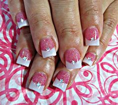 Rose French Manicure Sparkly Pink & White Nails