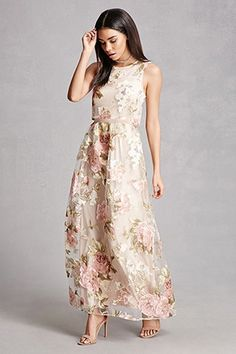 A sleeveless knit maxi dress featuring a sheer tulle top and skirt overlay, a floral print, a round neckline, and an exposed back zipper. This is an independent brand and not a Forever 21 branded item. Mother Of Groom Dresses, Mothers Dresses, Mob Dresses, Fashion Dresses, Formal Dresses, Pretty Dresses, Beautiful Dresses, Modelos Fashion, Ellie Saab