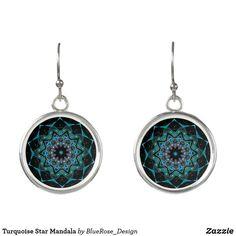 Turquoise Star Mandala Earrings Christmas Card Holders, Colorful Backgrounds, Crochet Earrings, Mandala, Perfume, Turquoise, Drop Earrings, Stars, Unique