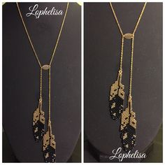 Collier plaqué or, plumes en perles miyuki