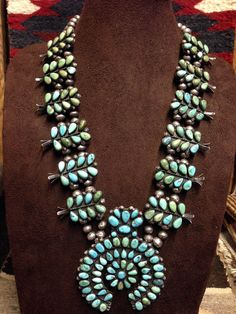 1920s Navajo Squash Blossom Necklace With Teardrop Fox Turquoise ...