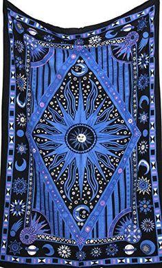 JaipurHandloom Twin Blue Tie Dye Purple Burning Sun Tapestry, Celestial Sun Moon Planet Bohemian Tapestry Tapestry Tapestry Wall Hanging Boho Tapestry Hippie Hippy Tapestry Beach Coverlet Curtain