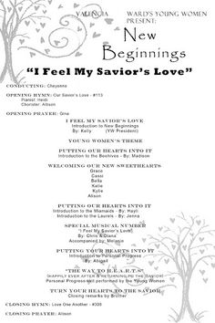"""I Feel My Savior's Love"" New Beginnings theme goes well with this year's theme ""Come Unto Christ."""