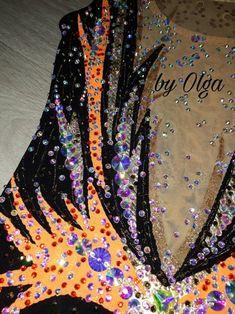 Made to Order rhythmic gymnastic leotard/figure | Etsy Gymnastics Leotards, Figure Skating, Color Change, Skate, Colours, Orange, Crystals, Pattern, Etsy