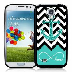 Galaxy S4 Case - S IV Case -   Infinite Love Teal Glitter Anchor Samsung Galaxy i9500 Case Snap On Case