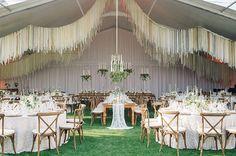 Gorgeous hanging ribbon reception installation