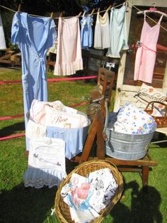 Love this idea to display aprons, or towels, or burprags