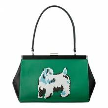 Cath Kidston Green/Black Leather Dog Print Handbag