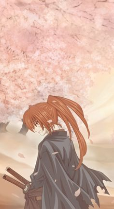 Rurouni Kenshin - It's weird to see a happy looking pic of Kenshin as Battosai... very cute pic though